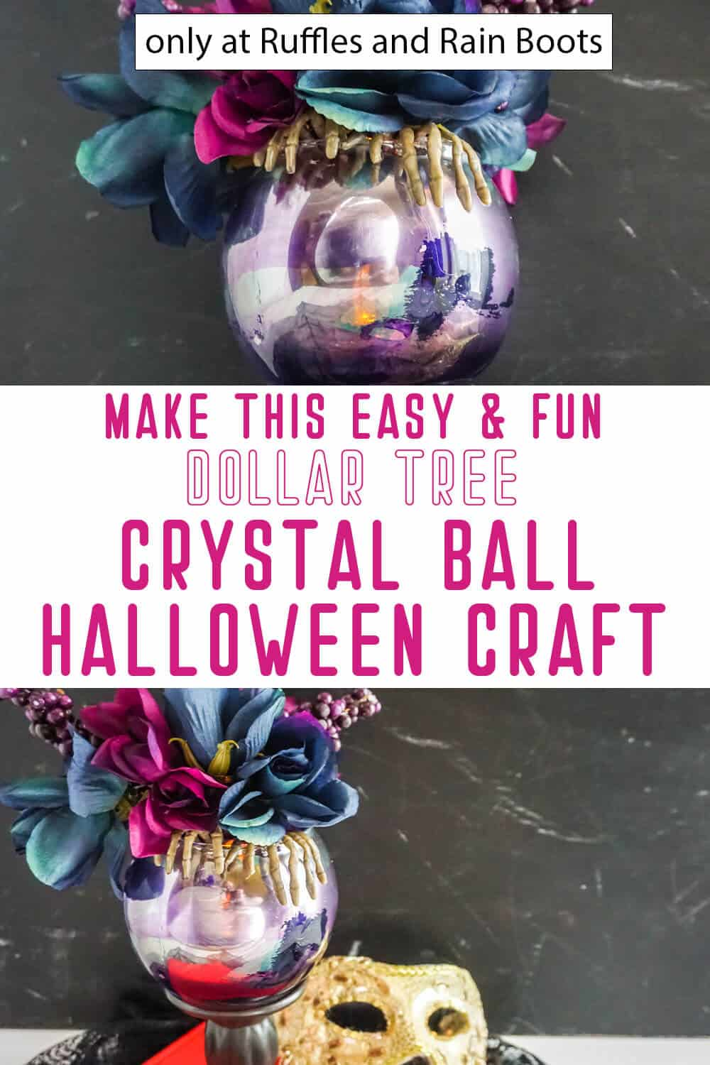 photo collage of dollar tree crystal ball for halloween with text which reads make this easy and fun dollar tree crystal ball halloween craft
