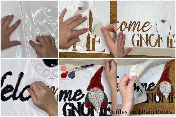 photo collage tutorial of how to make a gnome doormat with cricut