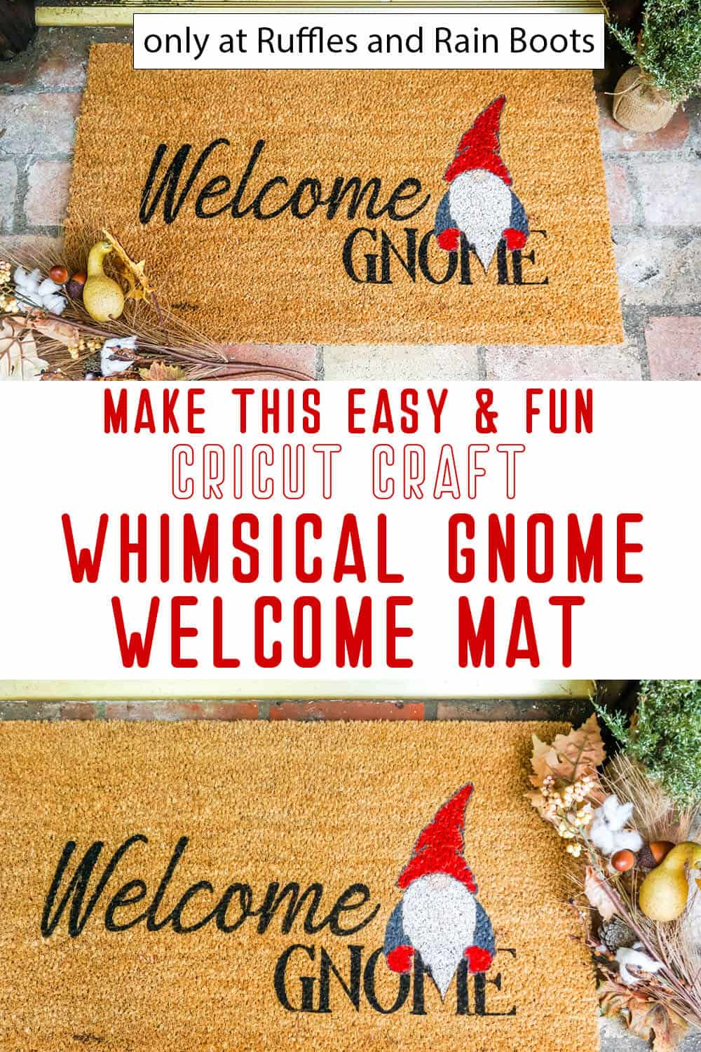 photo collage of cricut doormat using a stencil with text which reads make this easy and fun cricut craft whimsical gnome welcome mat
