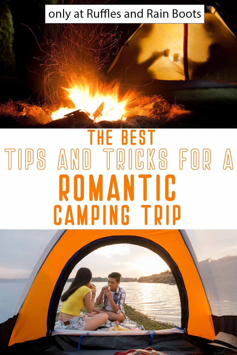 photo collage of how to plan a romantic camping trip with text which reads the best tips and tricks for a romantic camping trip