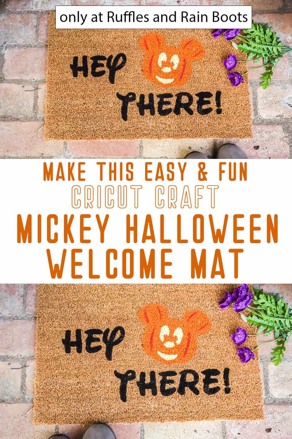 photo collage of mickey pumpkin doormat cricut craft with text which reads make this easy and fun cricut craft mickey halloween welcome mat