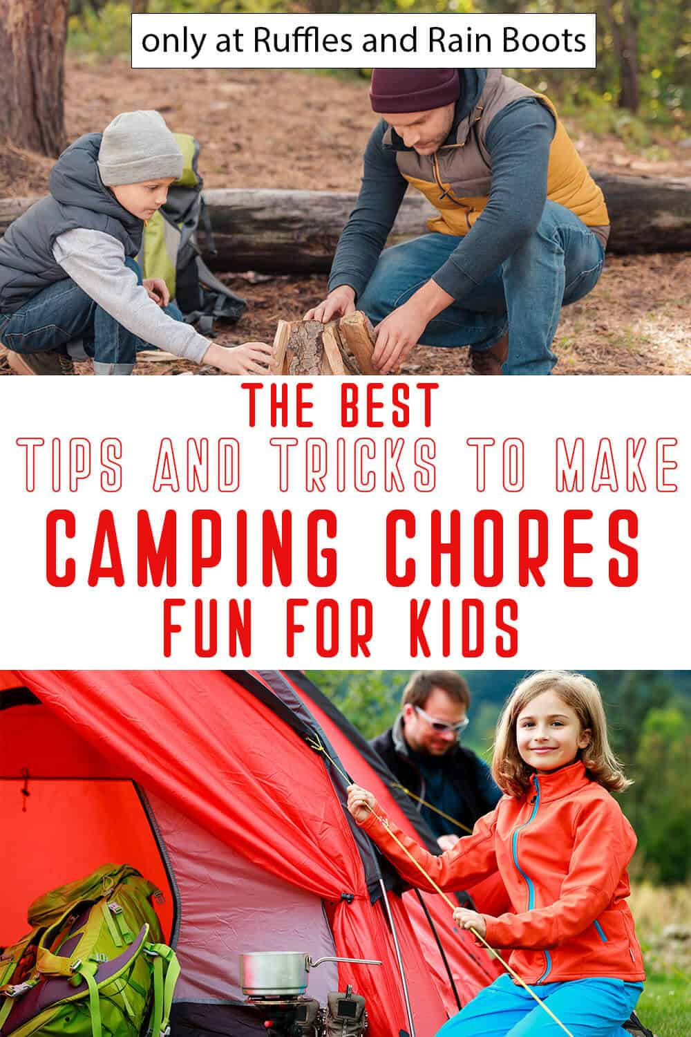 photo collage of fun camping chores for kids with text which reads the best tips and tricks to make camping chores fun for kids