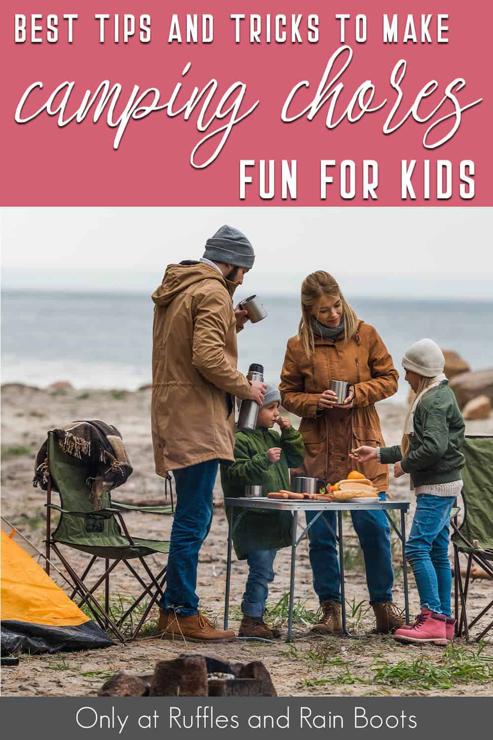kids camping chores with text which reads best tips and tricks to make camping chores fun for kids