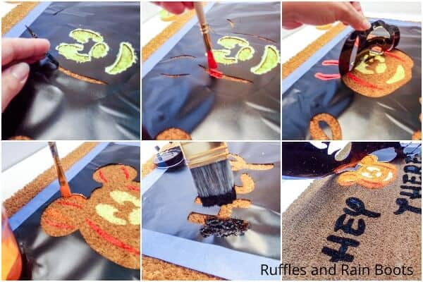 photo collage tutorial of how to make a mickey halloween doormat