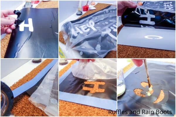 photo collage tutorial of how to make a doormat with Cricut