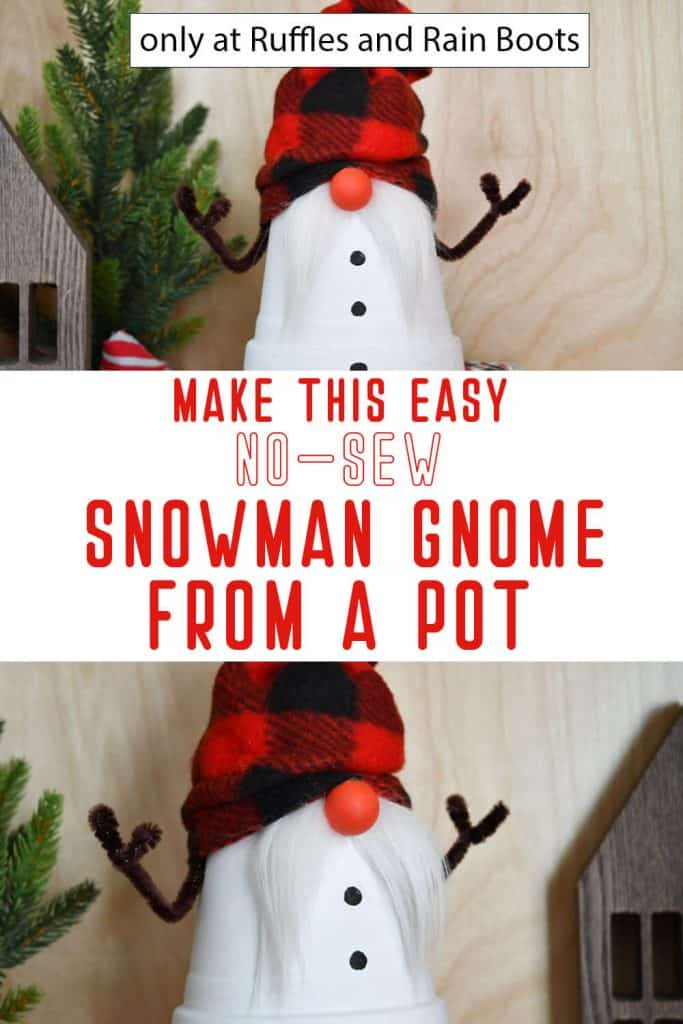 photo collage of terra cotta pot snowman gnome craft with text which reads make this easy no-sew snowman gnome from a pot