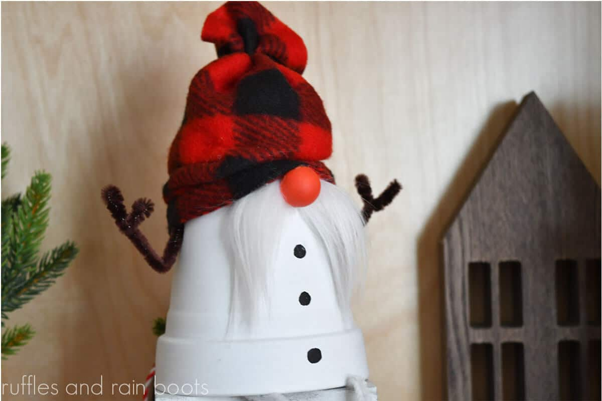no-sew snowman gnome craft from a pot