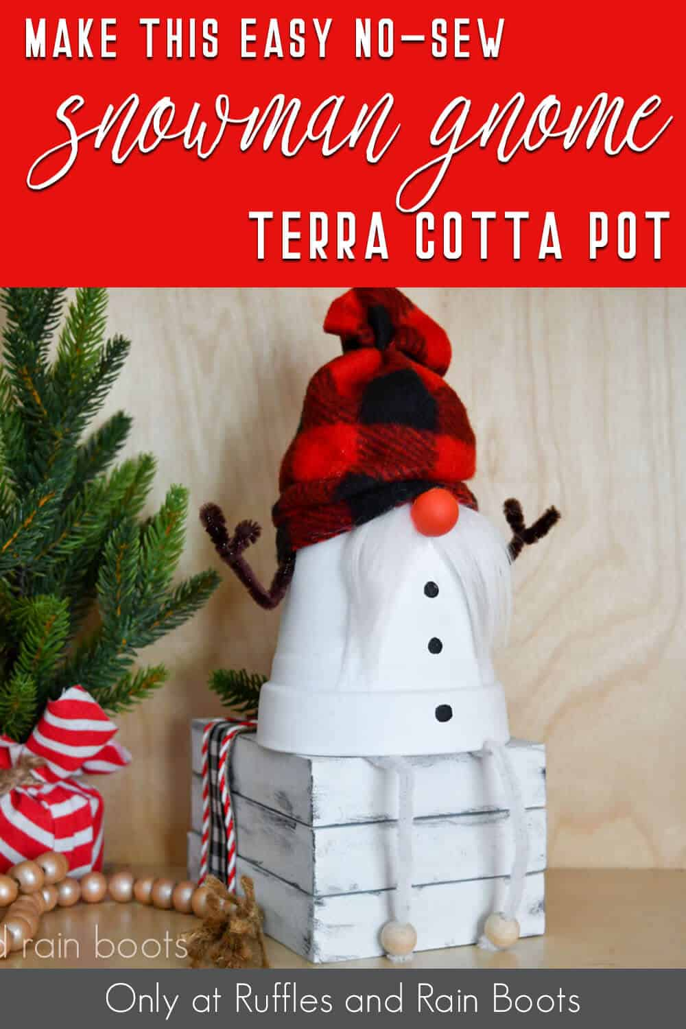 clay pot gnome snowman with text which reads make this easy no-sew snowman gnome terra cotta pot