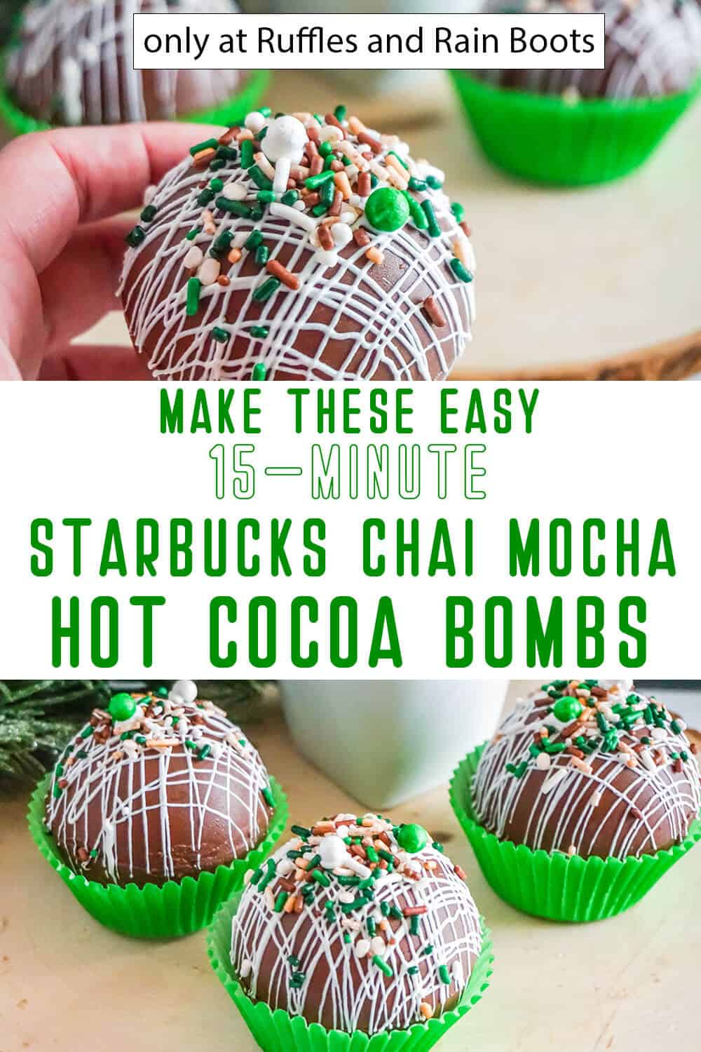photo collage of tea infused hot cocoa bombs with text which reads make these easy 15-minute starbucks chai mocha hot cocoa bombs