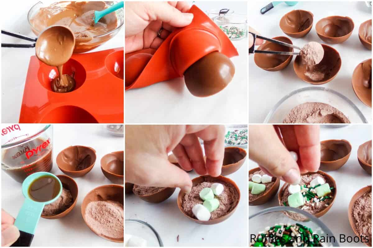 photo collage tutorial of how to make starbucks chai mocha hot cocoa bombs