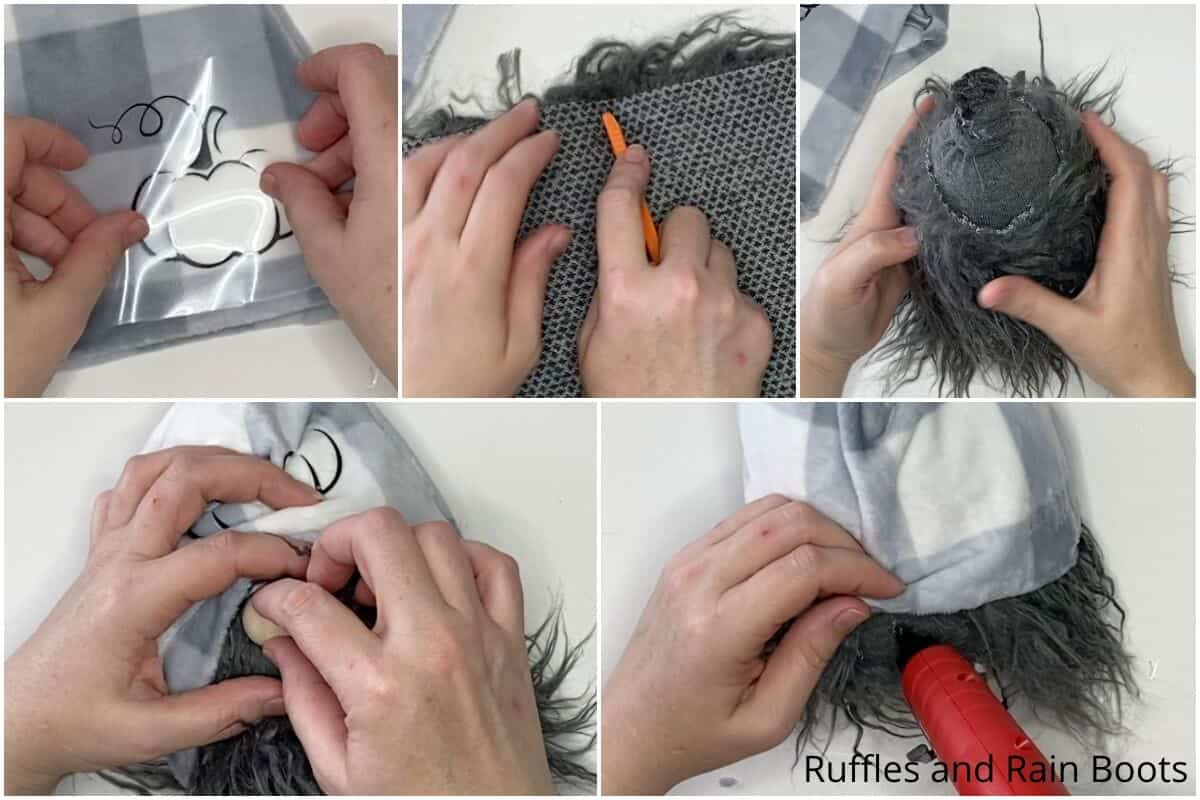 photo collage tutorial of how to make a sock gnome for fall