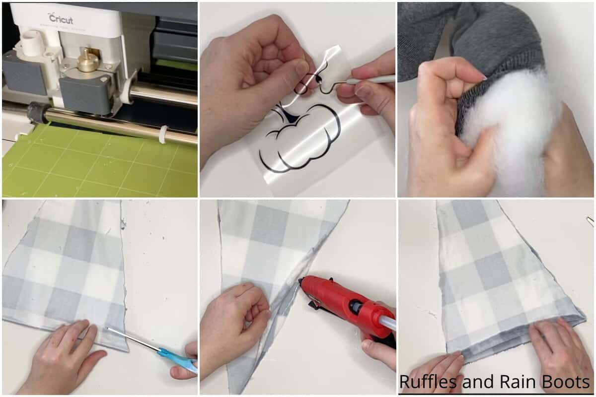 photo collage tutorial of how to make a buffalo check fall sock gnome
