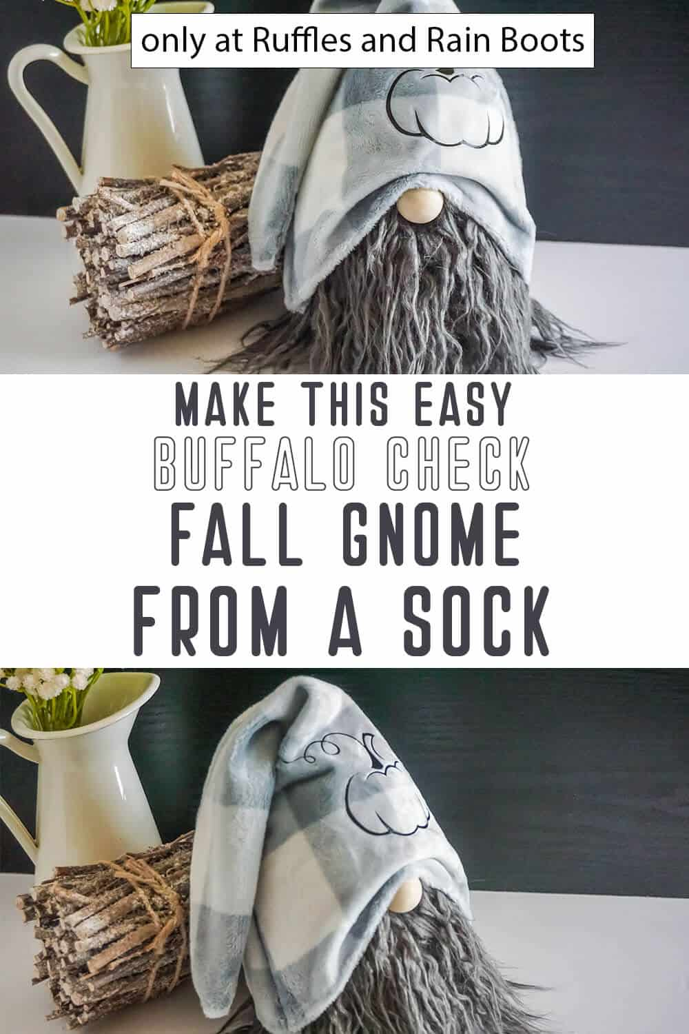 photo collage of buffalo check fall sock gnome craft with text which reads make this easy buffalo check fall gnome from a sock
