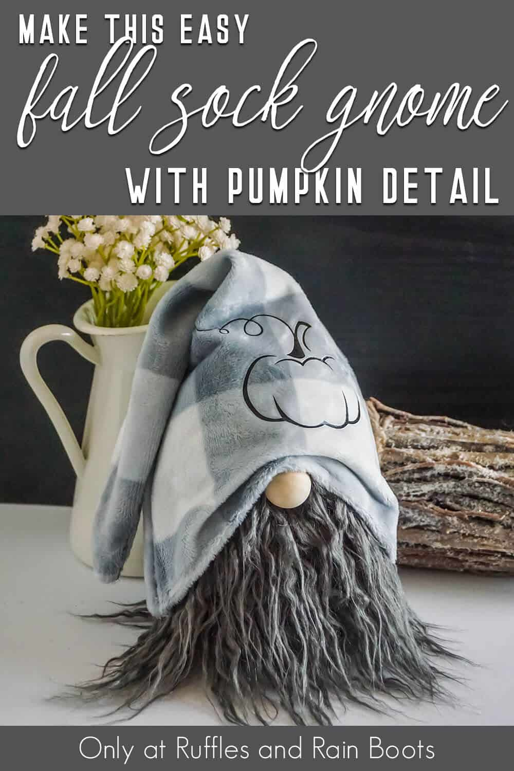 fall sock gnome with pumpkin detail