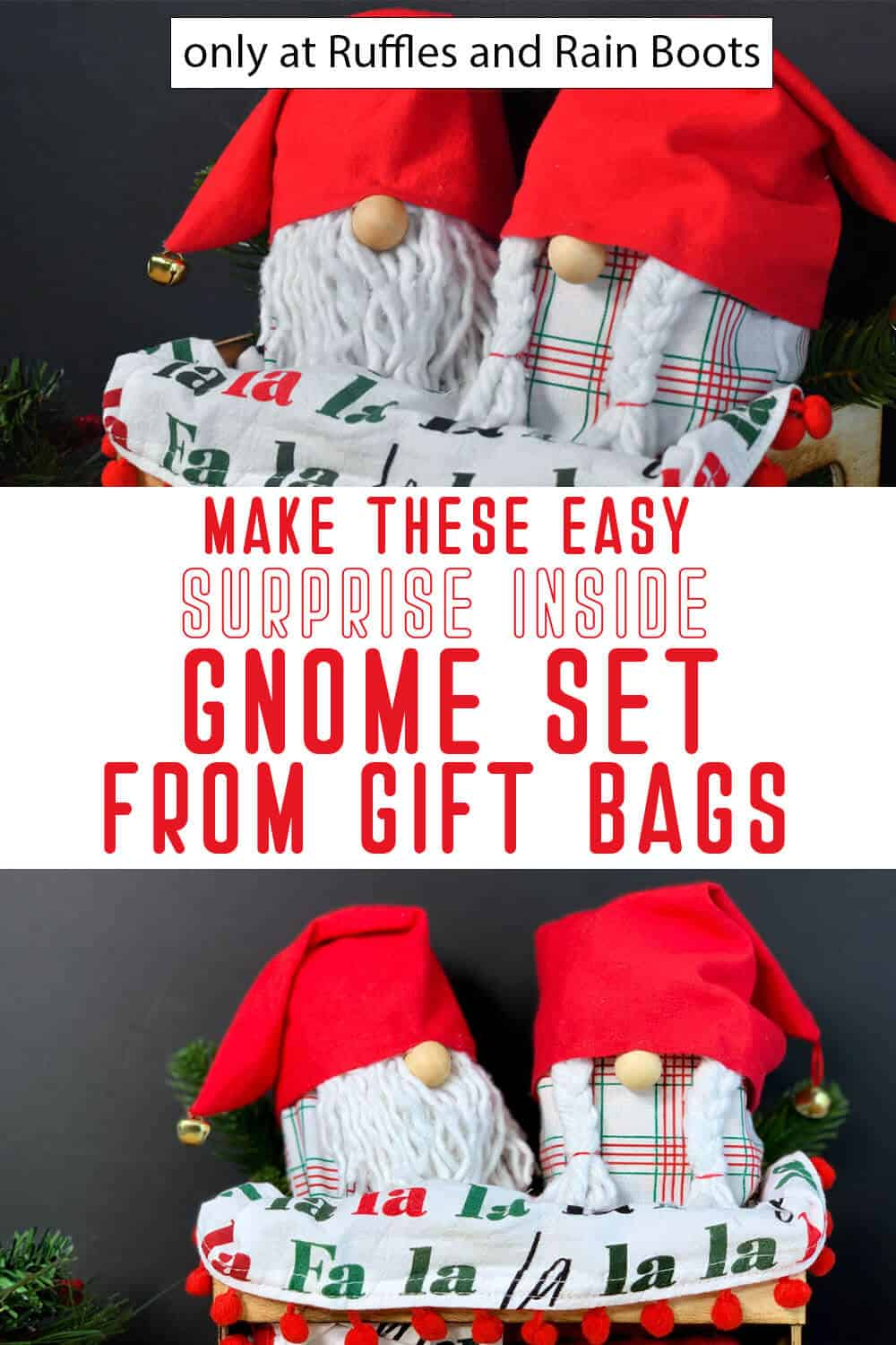 photo collage of surprise inside gnomes for christmas with text which reads make these easy surprise inside gnome set from gift bags