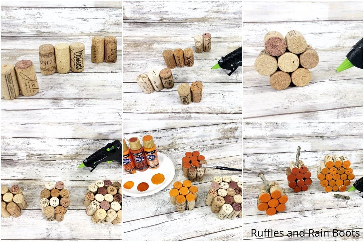 photo collage tutorial of how to make a cork pumpkin craft for fall