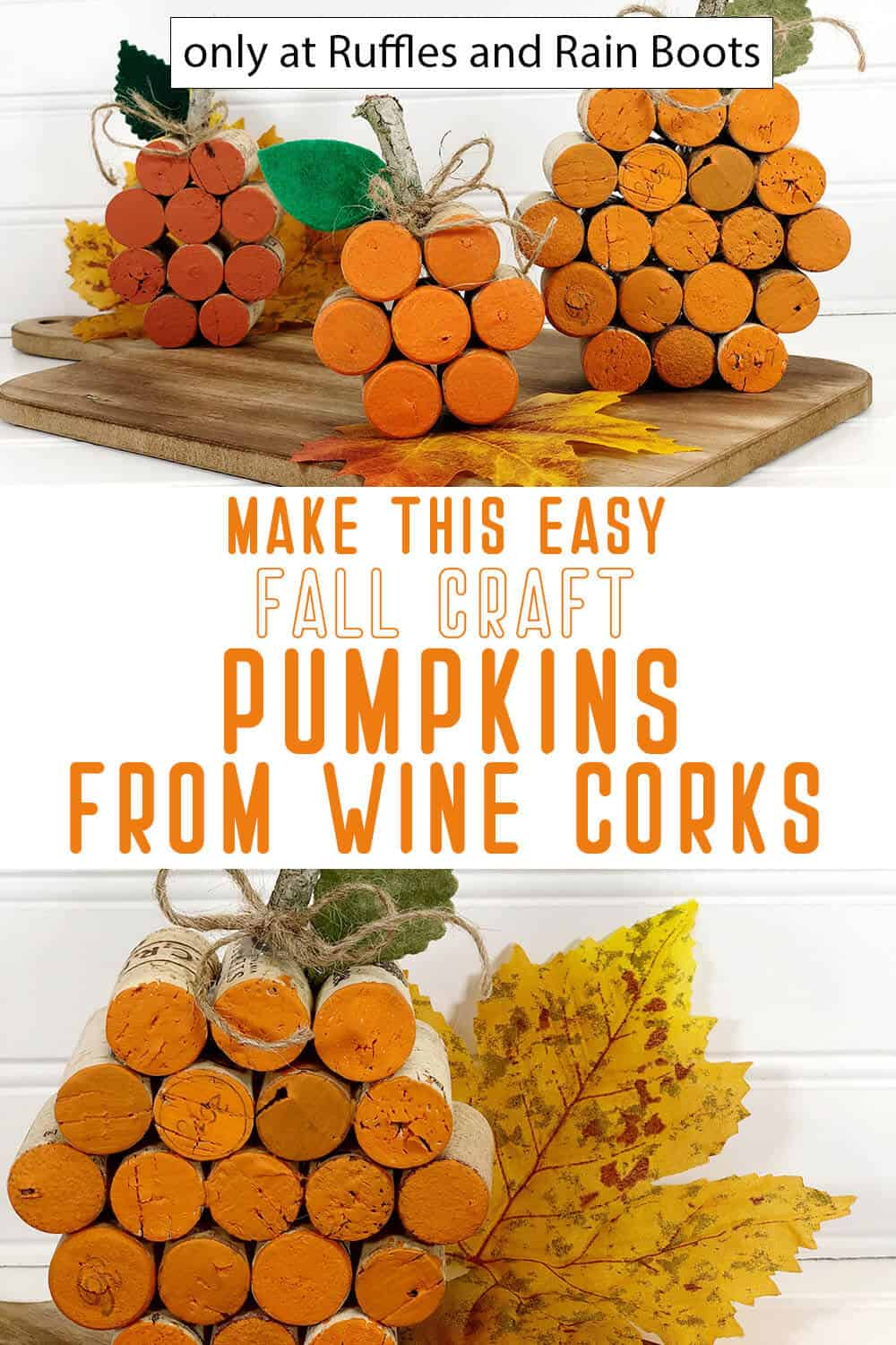 photo collage of diy pumpkin from wine corks with text which reads make this easy fall craft pumpkins from wine corks