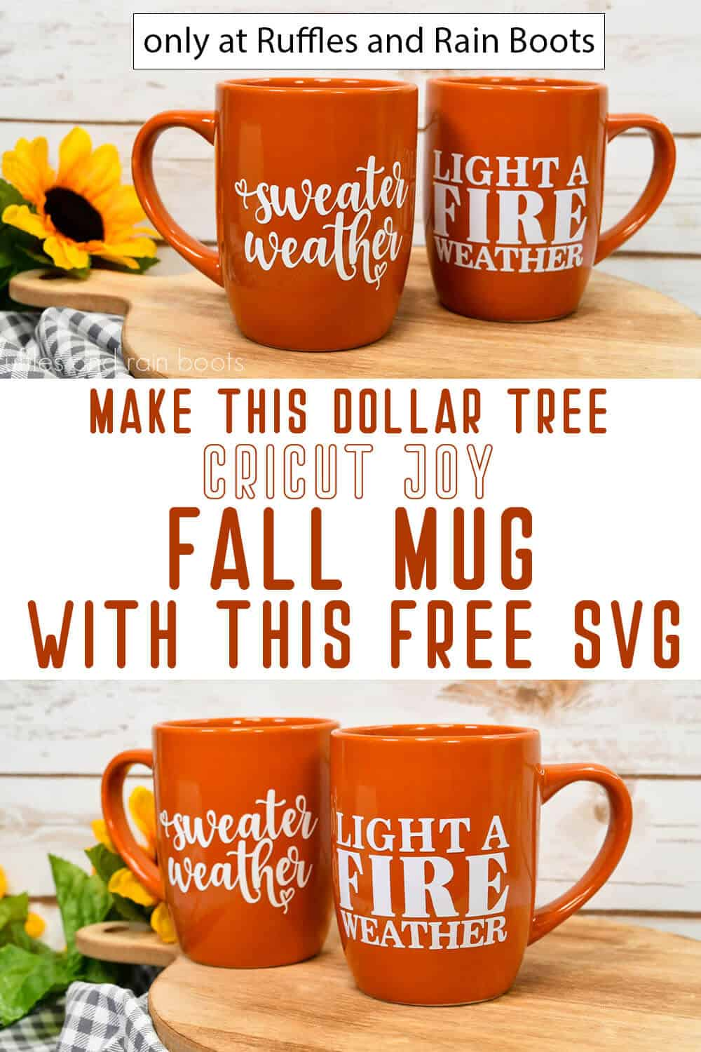 photo collage of dollar tree craft fall mug cricut joy tutorial with text which reads make this dollar tree cricut joy fall mug with this free svg