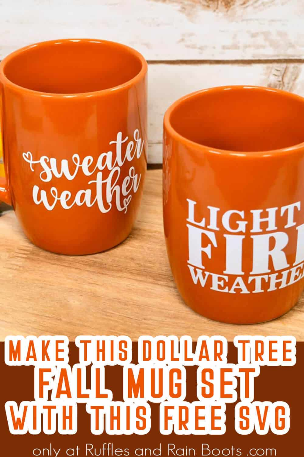 cricut joy craft to make a dollar tree fall mug with text which reads make this dollar tree fall mug set with this free svg