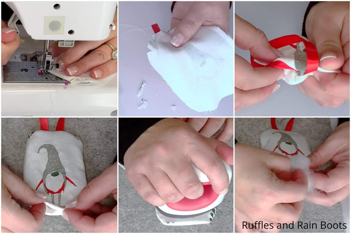 photo collage tutorial of how to make a plush gnome ornament