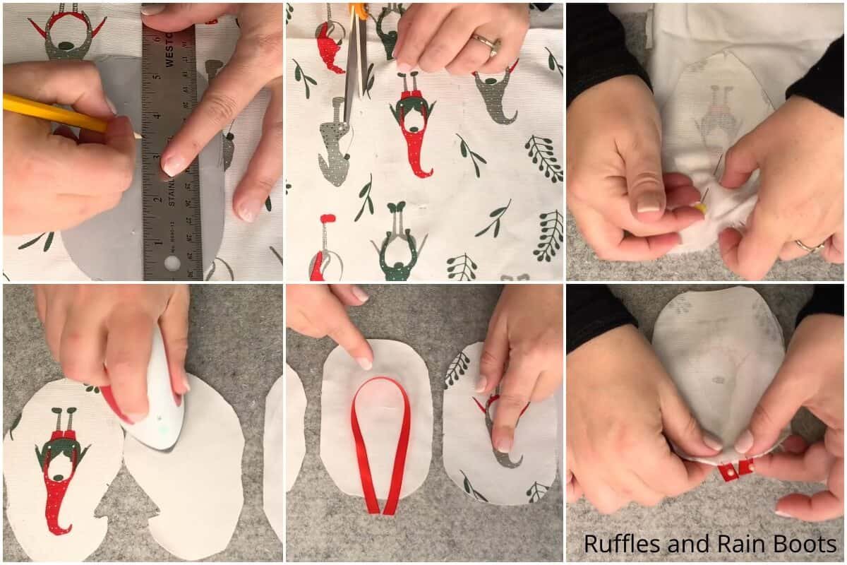 photo collage tutorial of how to make a christmas gnome ornament from a napkin