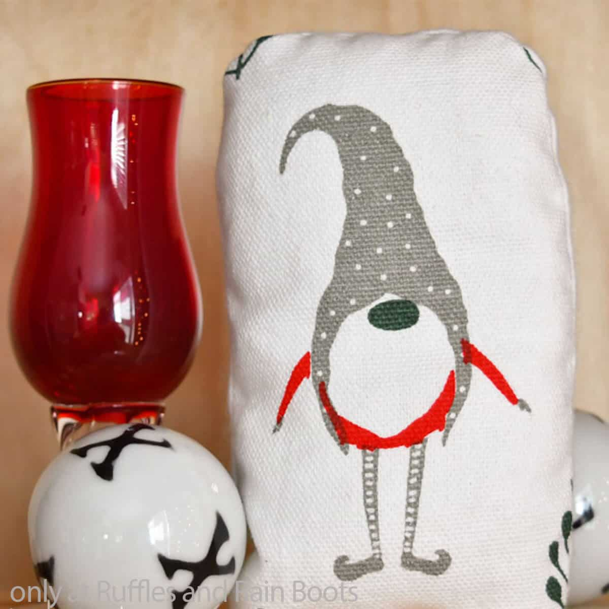 christmas gnome ornament from a napkin
