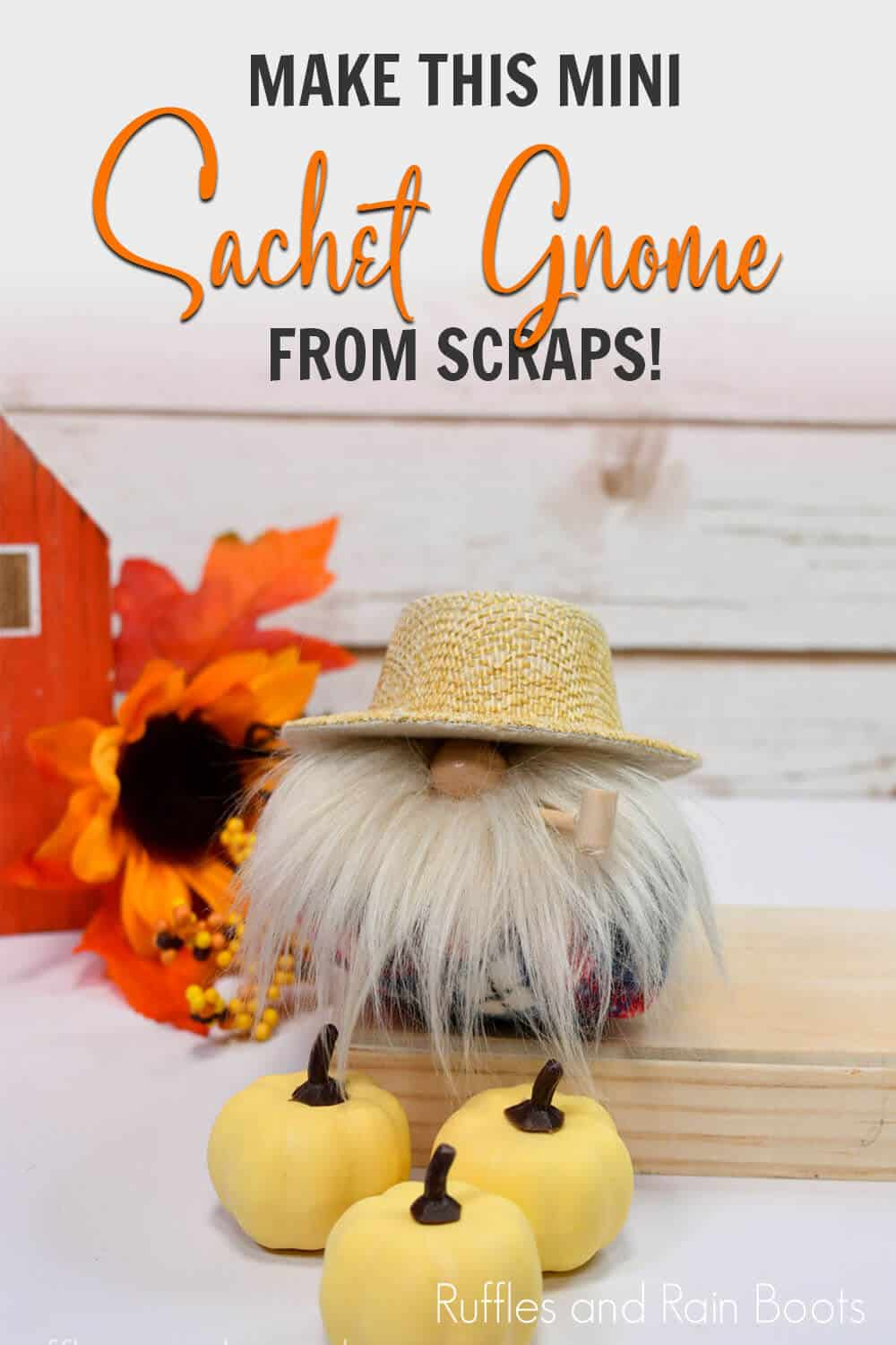 quick gnome craft made from scraps with text which reads make this mini sachet gnome from scraps