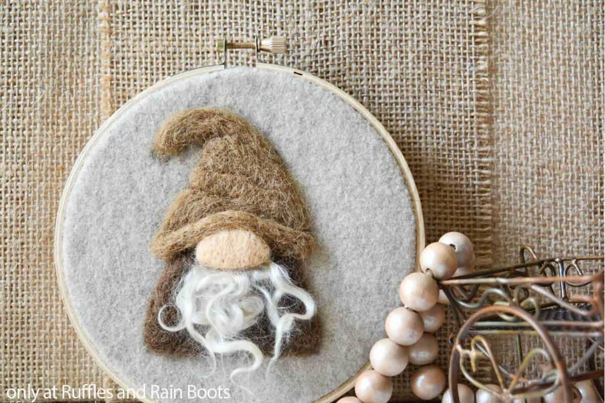 wool painting canvas 2d needle felted gnome