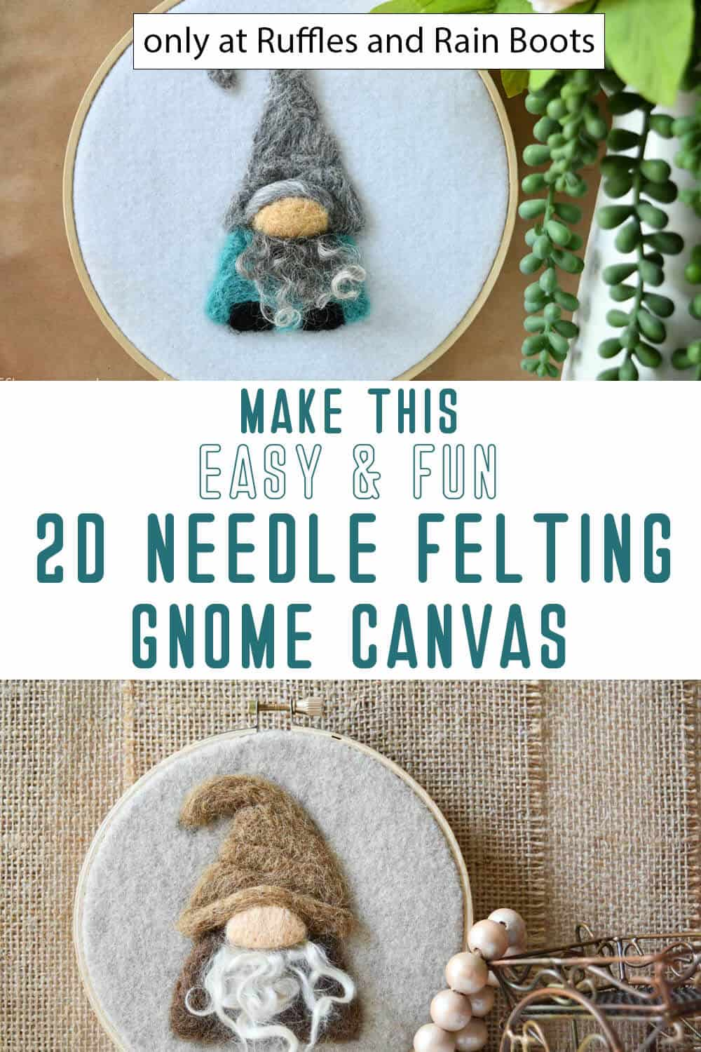 photo collage of wool painted canvas gnome craft with text which reads make this easy and fun 2d needle felting gnome canvas