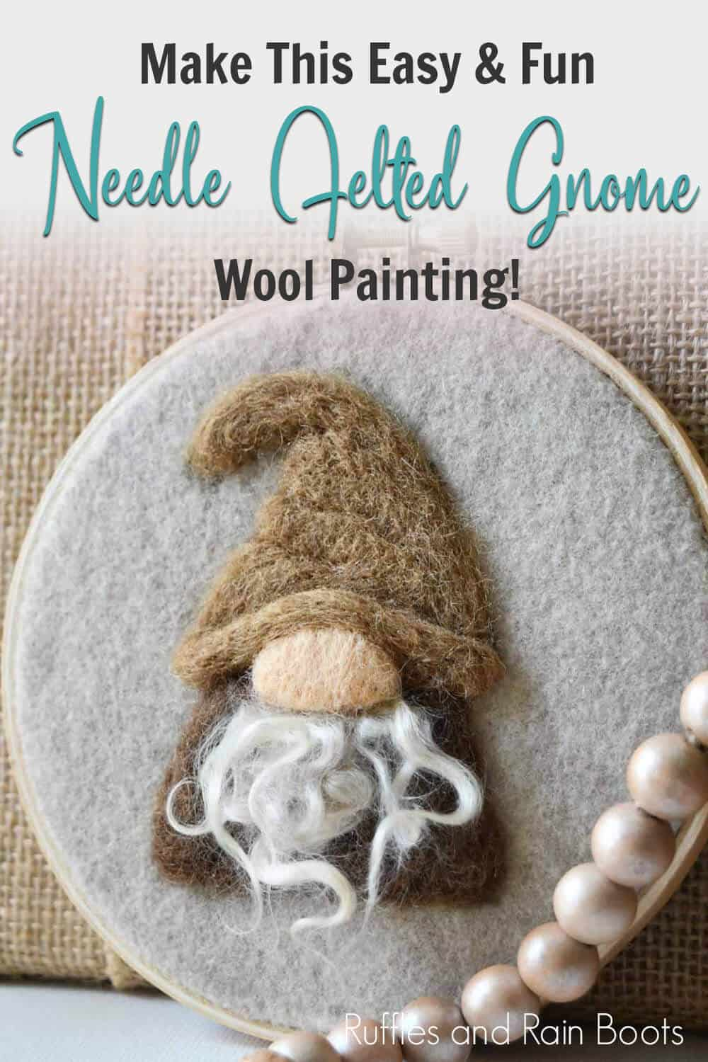 needle felted gnome wool painting canvas with text which reads make this easy and fun needle felted gnome wool painting
