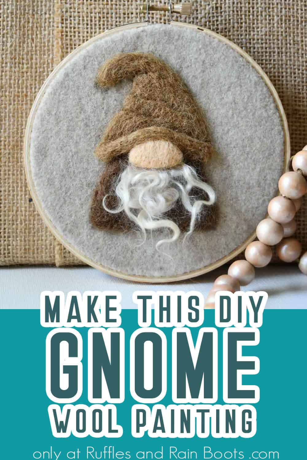 diy gnome wool canvas painting with text which reads make this diy gnome wool painting