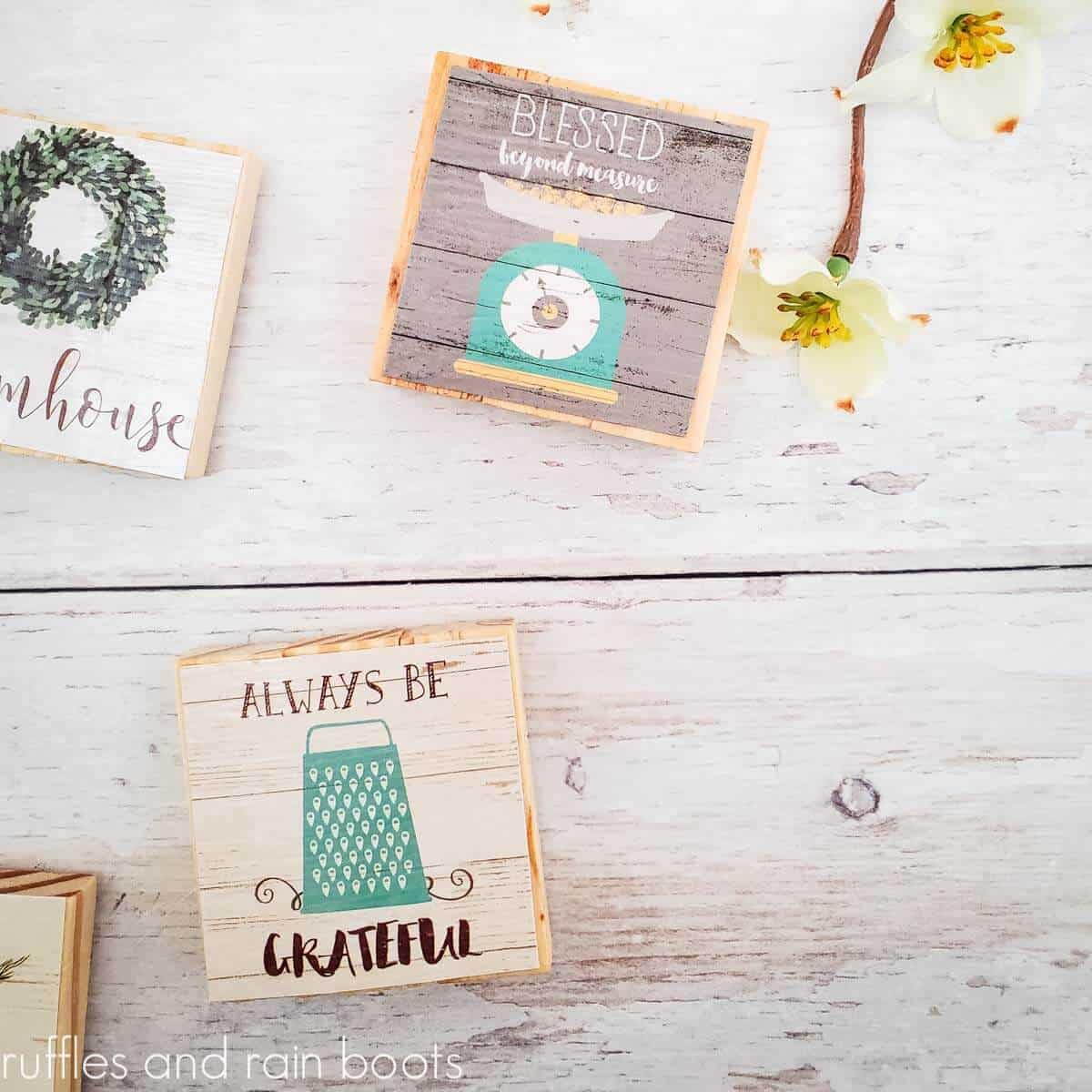 dollar tree calendar magnet made with tower blocks on white wood background with small yellow flowers